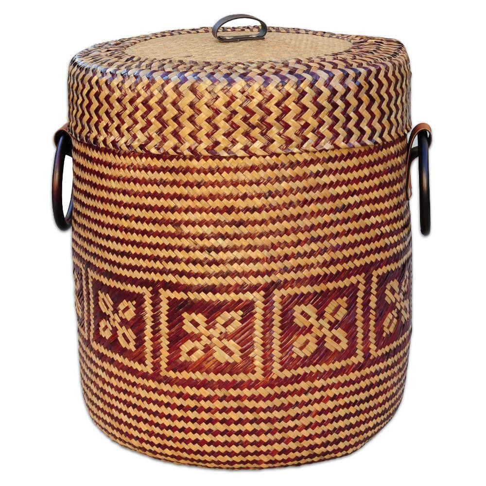 Korb für Wäsche aus Bast beige braun Blume 40cm