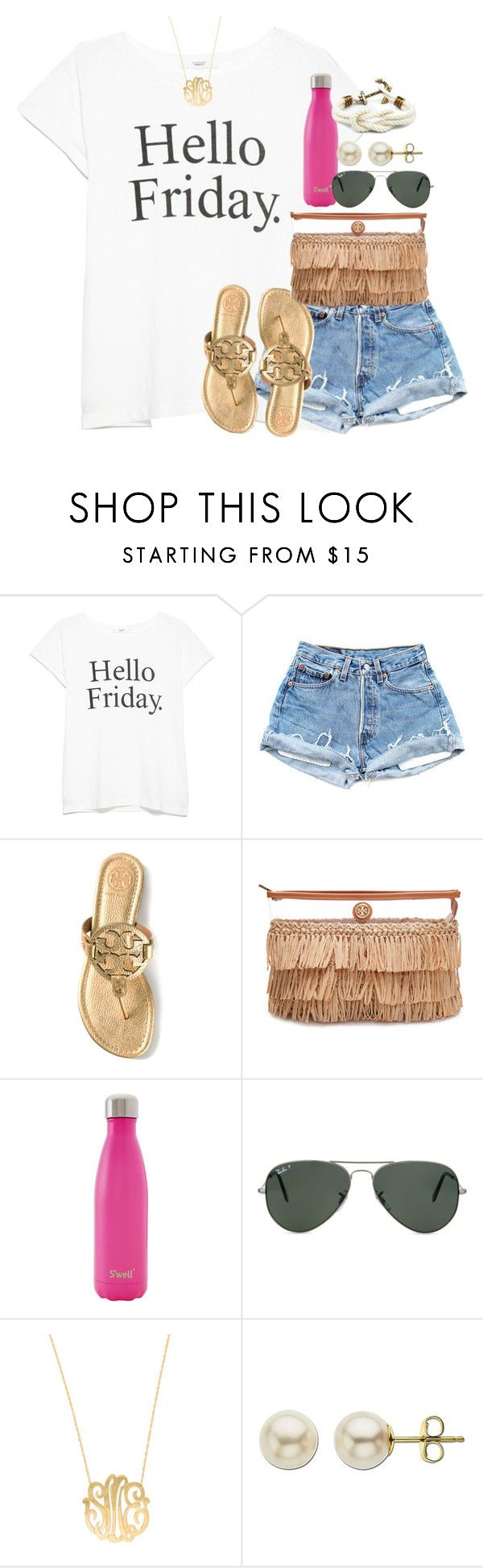 """""""off to a great start w/ this acc :)"""" by syd-em ❤ liked on Polyvore featuring MANGO, Tory Burch, S'well, Ray-Ban, Moon and Lola and Lord & Taylor"""