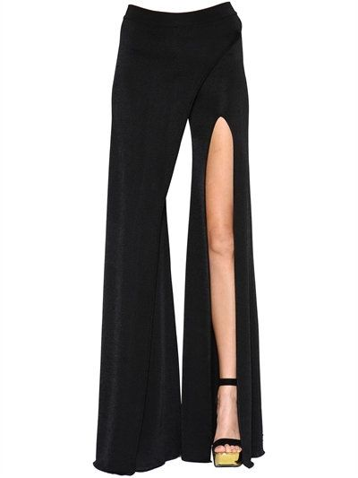 dd8ccd38edc9 BALMAIN - FLARED WRAP EFFECT VISCOSE KNIT PANTS - BLACK | fashion ...
