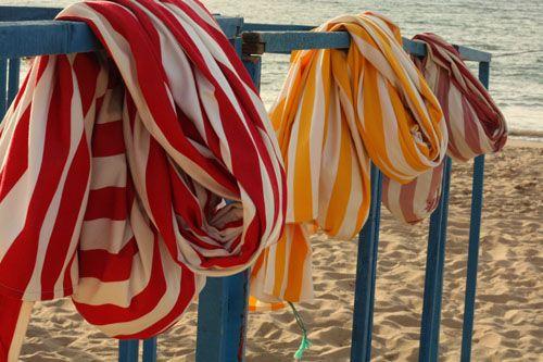 Striped Beach towels at the Beach.
