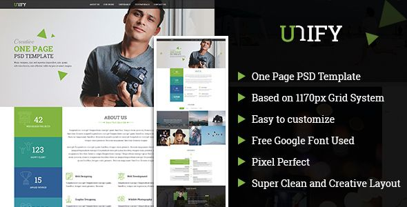 Unify Onepage Psd Template  Psd Templates Template And Personal
