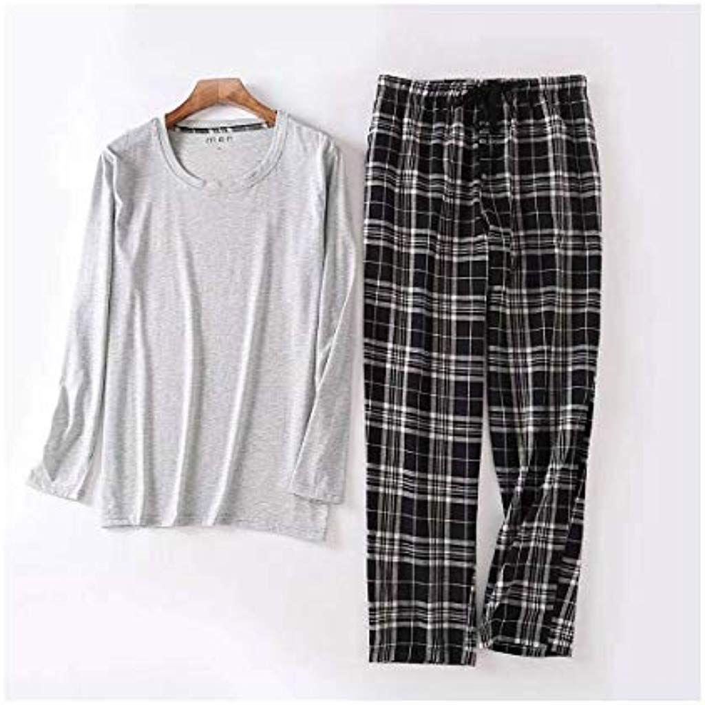 c0fd21f370299 TENGTENGCAI Manches Longues Hommes Automne Ensembles Pyjama Pyjamas Nuit  Porter Un Pantalon À Carreaux Gris Vêtements
