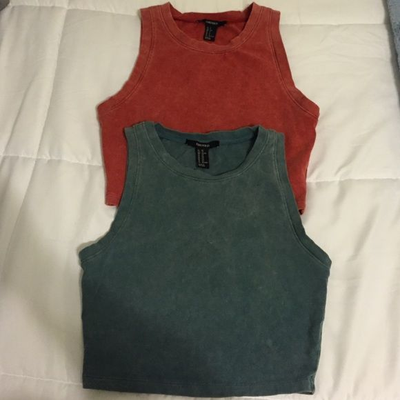 Forever 21 Sleeveless Crop Top Bundle Forever 21 sleeveless crop tops. Can be sold individually. Cotton/Spandex. Washed look. Lots of stretch. Red is size small and blue/green is size X small. Forever 21 Tops Crop Tops