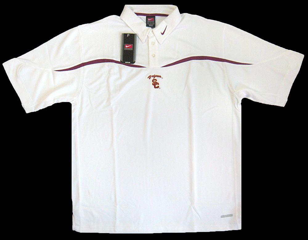 933c9ad5 USC TROJANS NIKE Team Mens XL Dri Fit White Polo Shirt NEW w/Tags Old Stock  #Nike #USCTrojans
