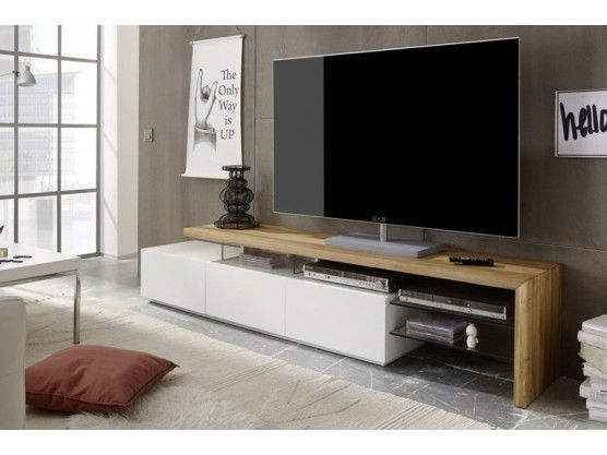 Meuble TV design en bois massif chêne huilé /blanc 3 tiroirs Moss ...