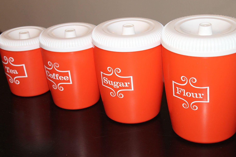 Vintage kitchen canister set red orange 1970s kitchen for Kitchen set orange