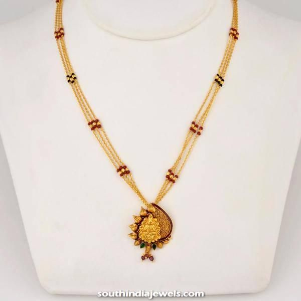 Gold three layer chain with pendant chains collections gold three layer chain with pendant mozeypictures Images
