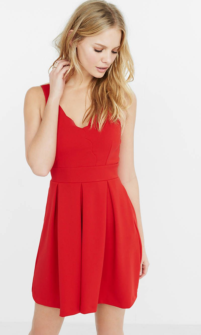 Red Scalloped Fit And Flare Dress | Express