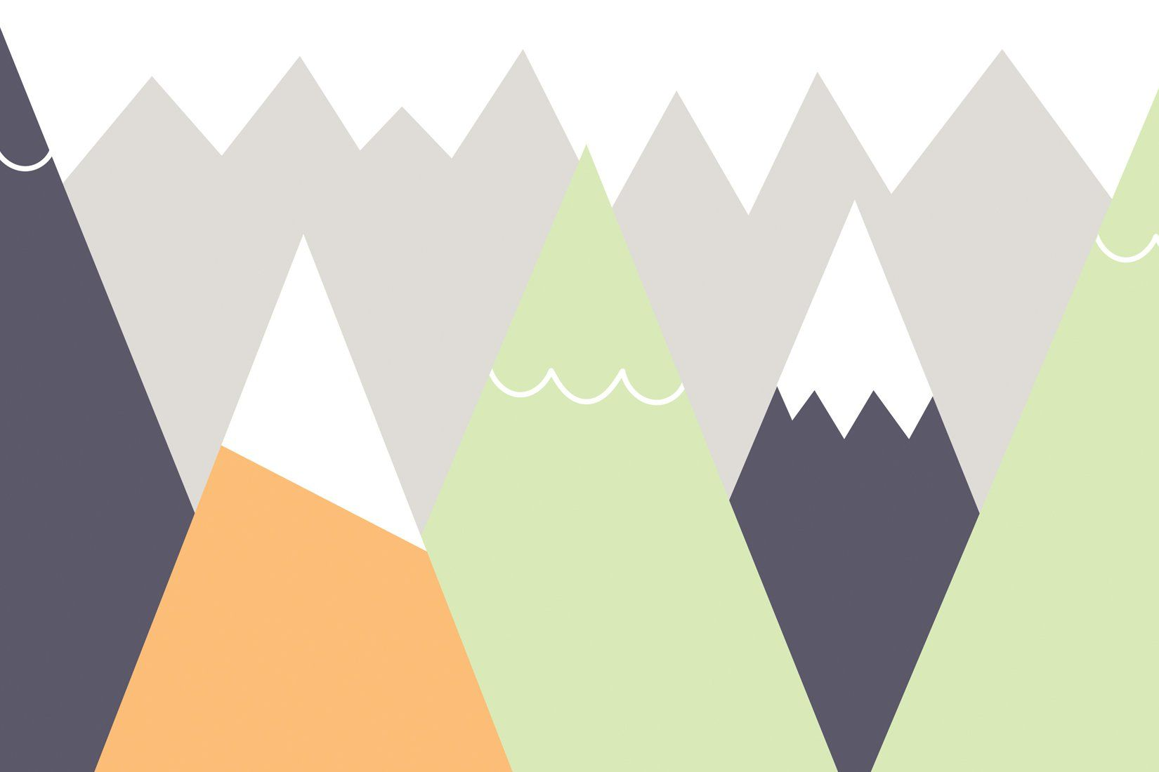 Kids Orange And Lime Mountains Wall Mural Childrens Wall Murals