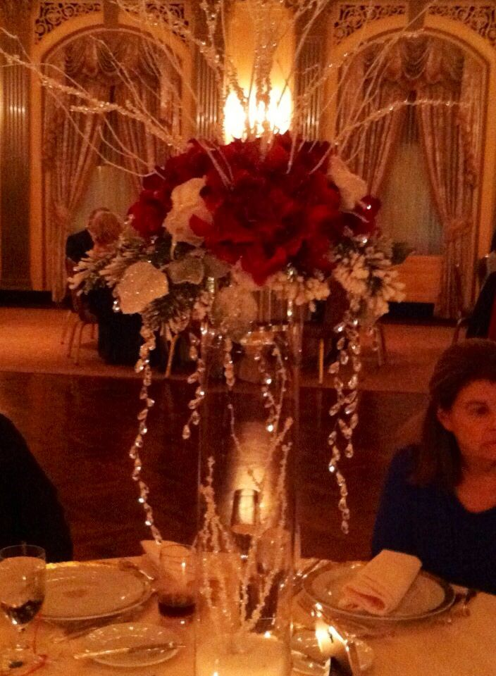 Flowers And Crystal Christmas Themed Wedding Centerpieces Our