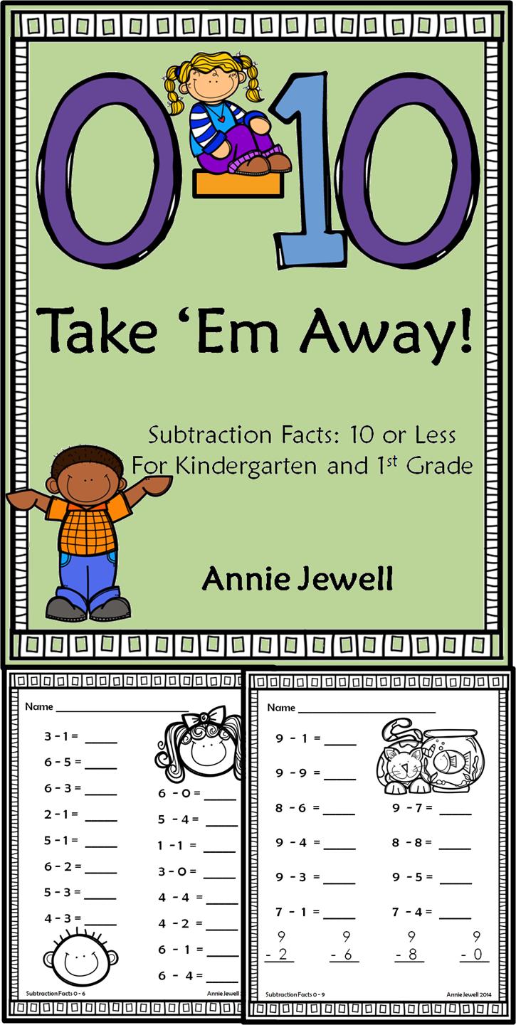 Subtraction Practice Worksheets for Kindergarten and 1st Grade ...