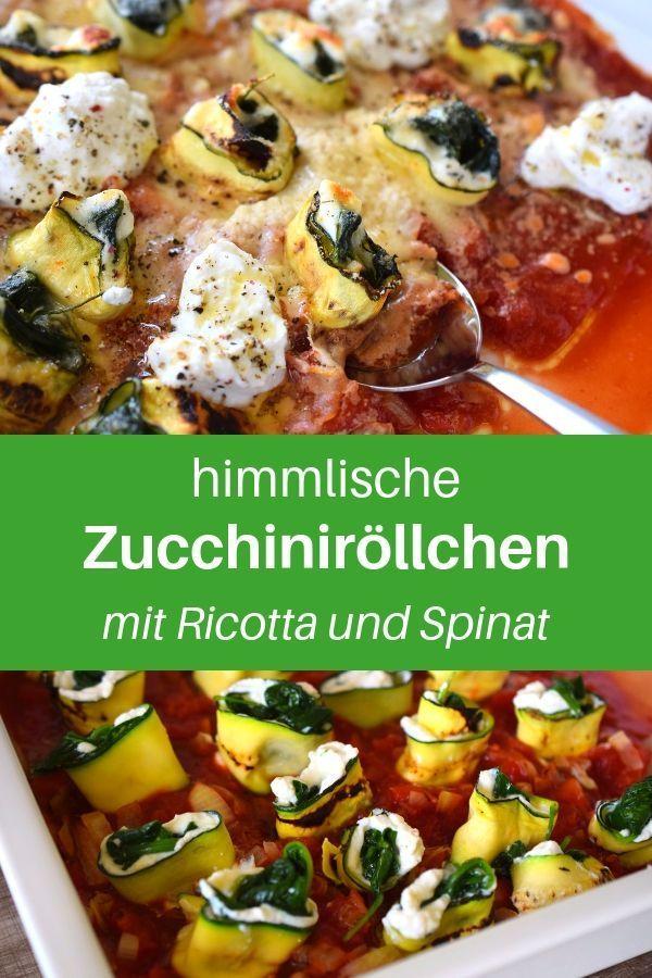 Zucchini-Lasagne-Röllchen Bist du auf der Suche nach Zucchini-Rezepten? Hier findest du ein Low Carb  Mittagessen-Rezept für jeden Tag. Ein gesundes Mittagessen mit Zucchiniröllchen, Ricotta und frischem Spinat. Die Zucchiniröllchen mit Ziegenkäse sind schneller zubereitet, als du denkst. Lass dir das gesunde Abendessen mit Gemüse schmecken.
