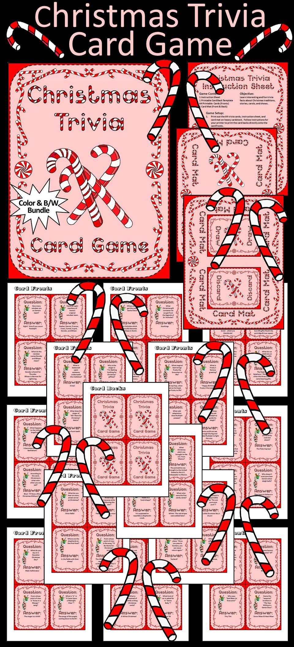 Christmas Activities: Christmas Trivia Card Game Activity Packet ...