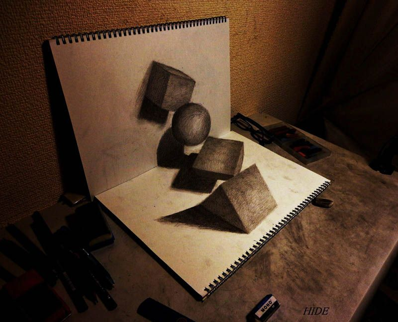 Amazing 3D Drawings by Nagai Hideyuki Nagai Hideyuki aka Hide is a 21 year old Japanese artists with tremendous drawing skills. Description from pinterest.com. I searched for this on bing.com/images