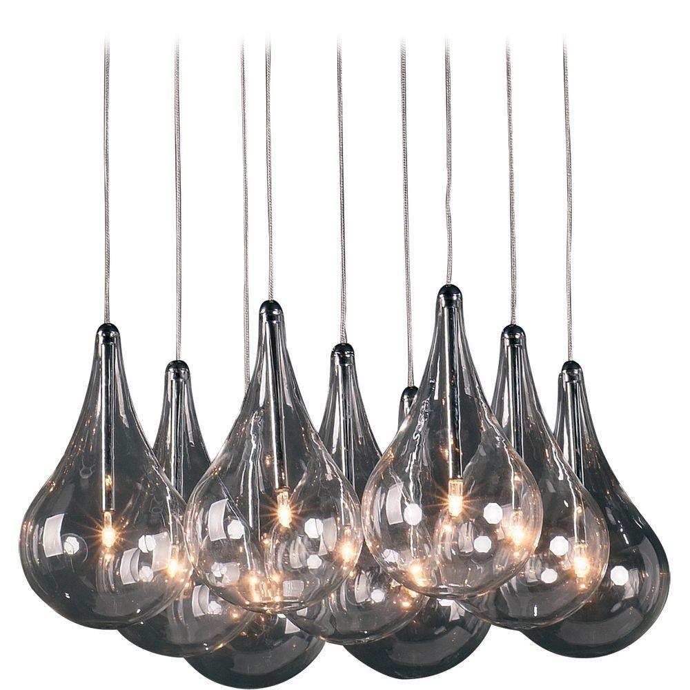 Modern Low Voltage Multi Light Pendant With Clear Glass And 9 Lights