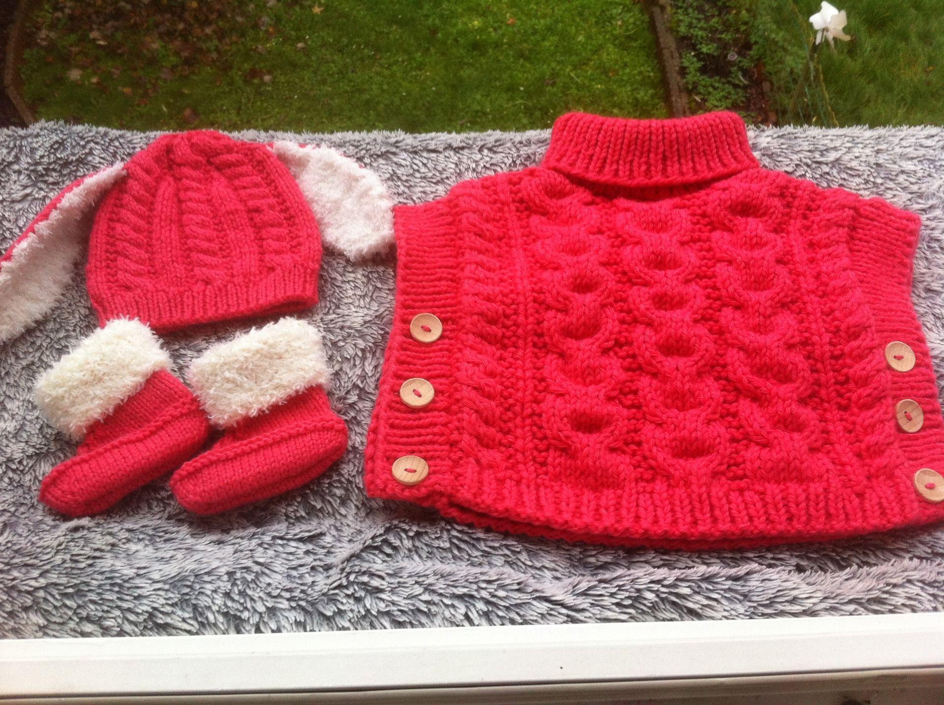 modele poncho enfant a tricoter