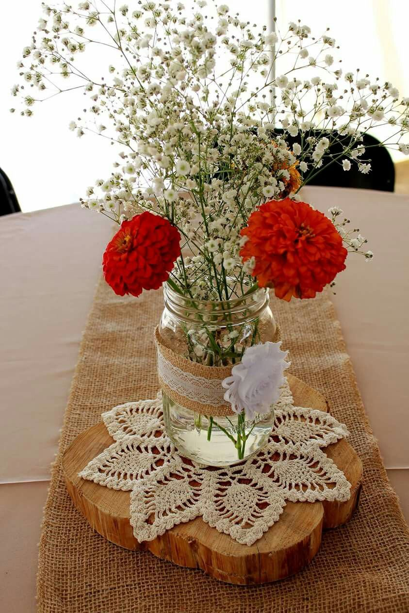 Simple Centerpieces Doilies From My Grandma On Wood Slabs With