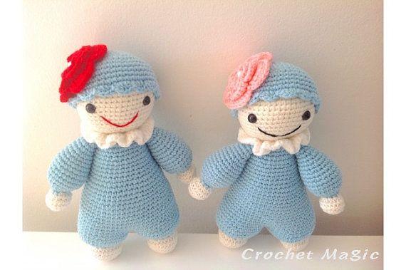 Paar von zwei niedlichen blauen knuddeligen von TheCrochetMagicShop