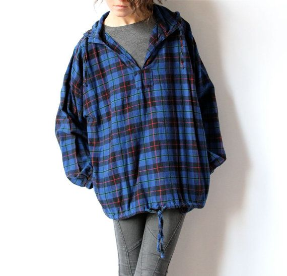Plaid Flannel Shirt, 80s 90s Grunge Hoodie Blue & Black Pullover ...