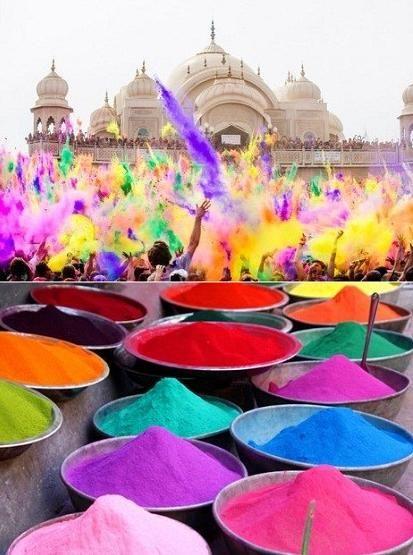 Tradition printanière en Inde, Holly, fête du printemps et des couleurs. Version…