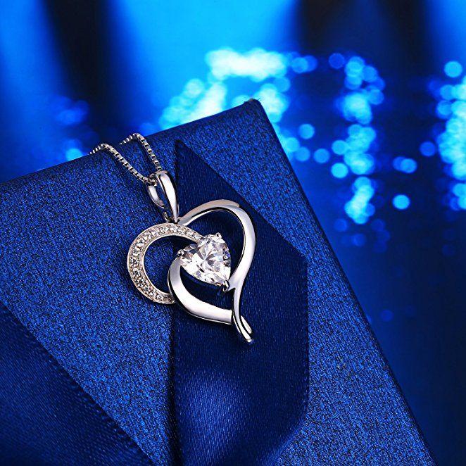 Herz Anhänger mit Kette Echt Silberherz Herzanhänger mit Panzerkette Damenherz