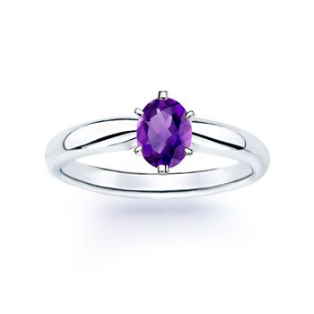 Angara Solitaire Double Claw Amethyst Trinity Ring with Diamond in White Gold B54qKU