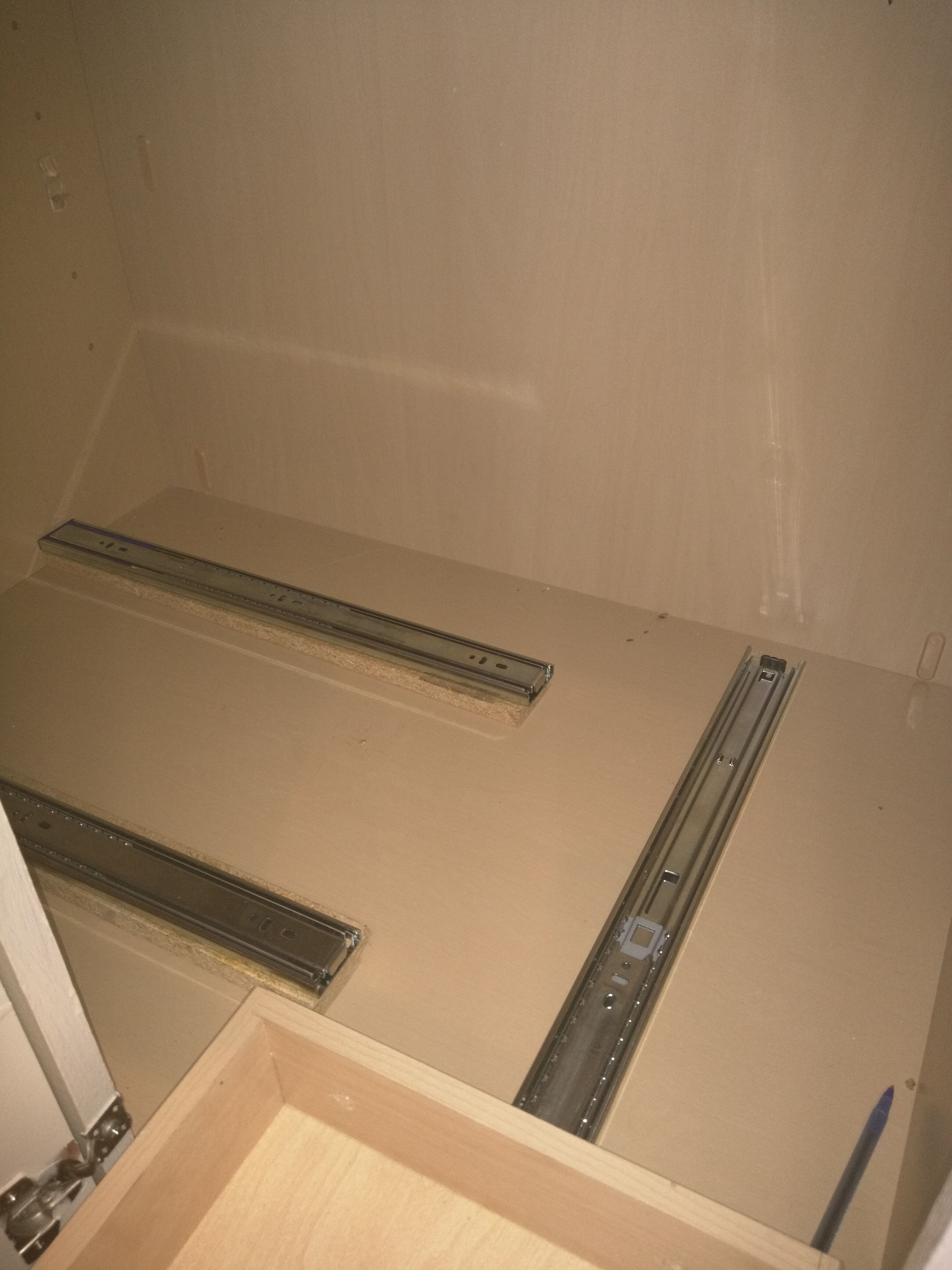 Drawer Slides For Corner Cabinet, Hidden Slides Would Need To Be Positioned  High Enough To Pass Over The Pull Out.