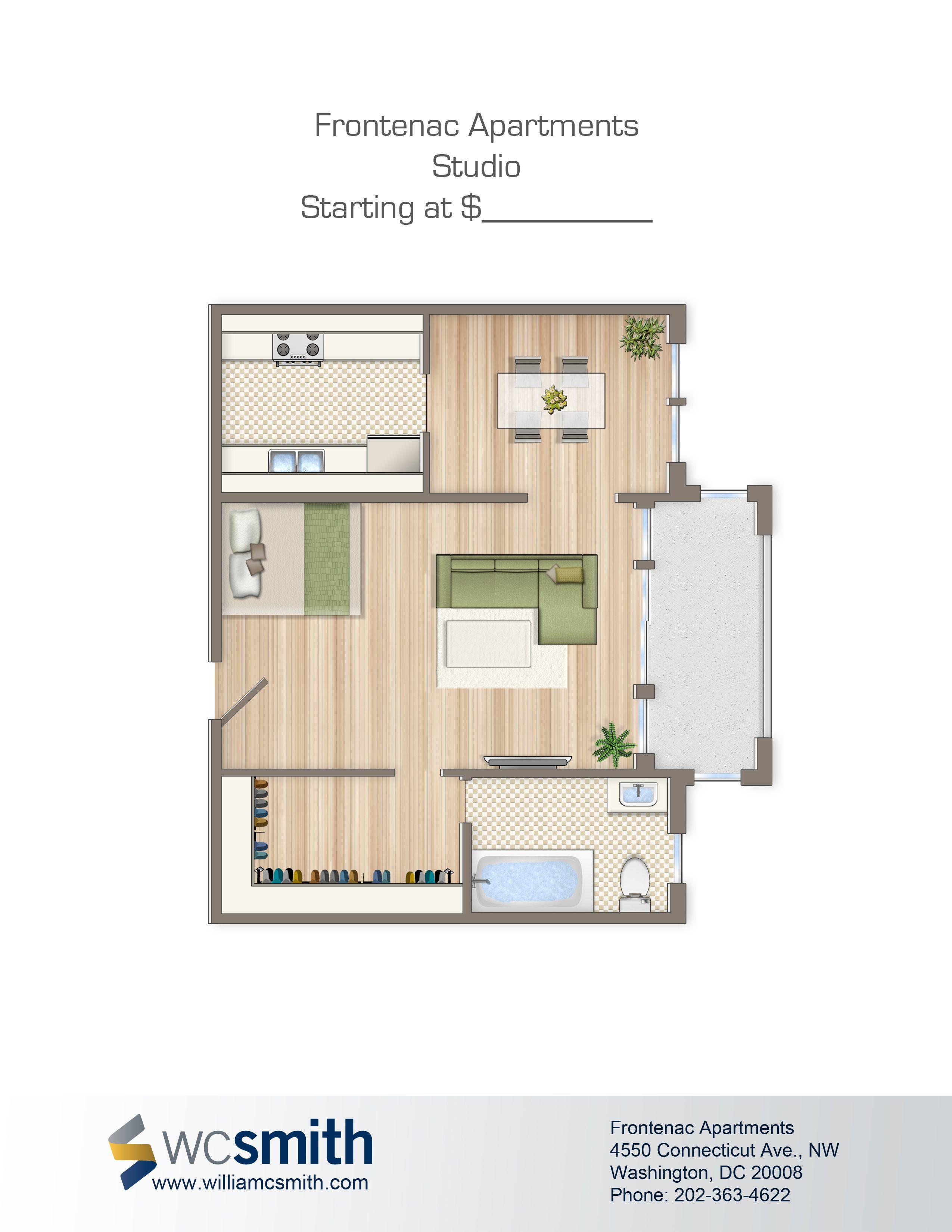 Studio Efficiency Floorplan For Rent The Frontenac Apartments In