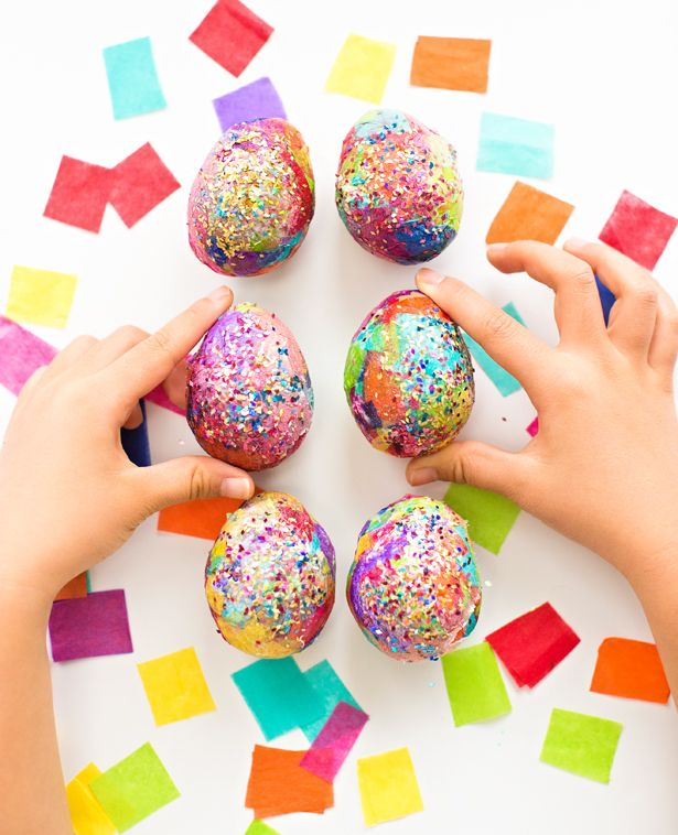 Sparkly Glitter Tissue Paper Easter Eggs Fun Egg Craft For Kids