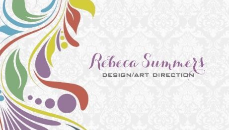 Colorful abstract swirl white damasks designer business cards http girly damask business cards page 1 reheart Gallery