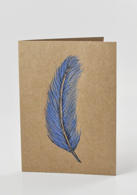 Original watercolor feather card by ArmyWifeArtist on Etsy