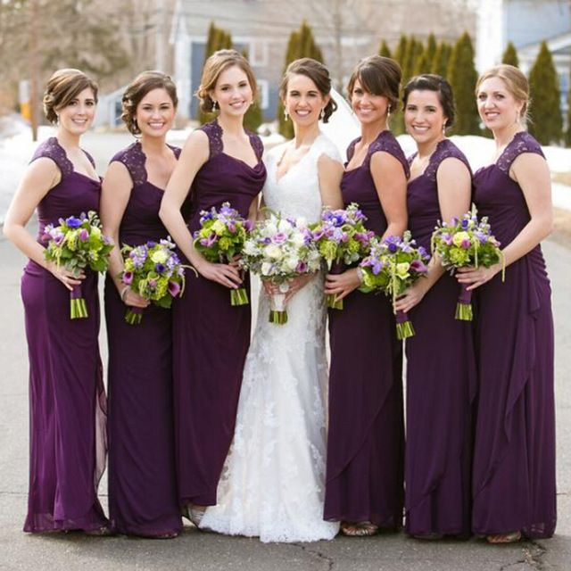 2016 Grape Purple Chiffon Bridesmaid Dresses Long Sleeveless Party