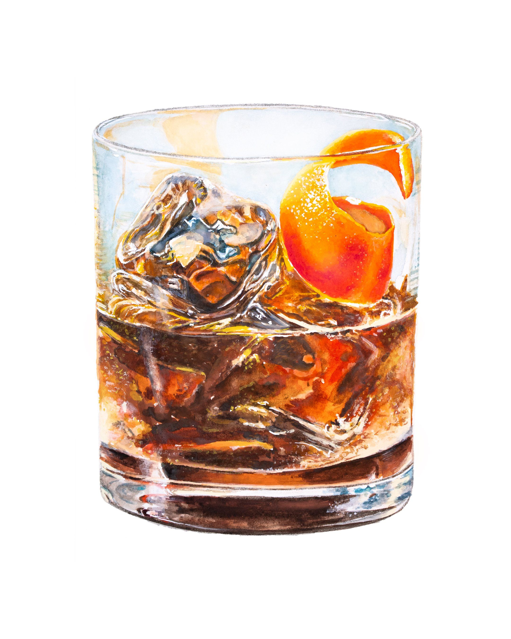 An Old Fashioned Drawing Cocktail Art Old Fashioned Drink Cocktail Illustration
