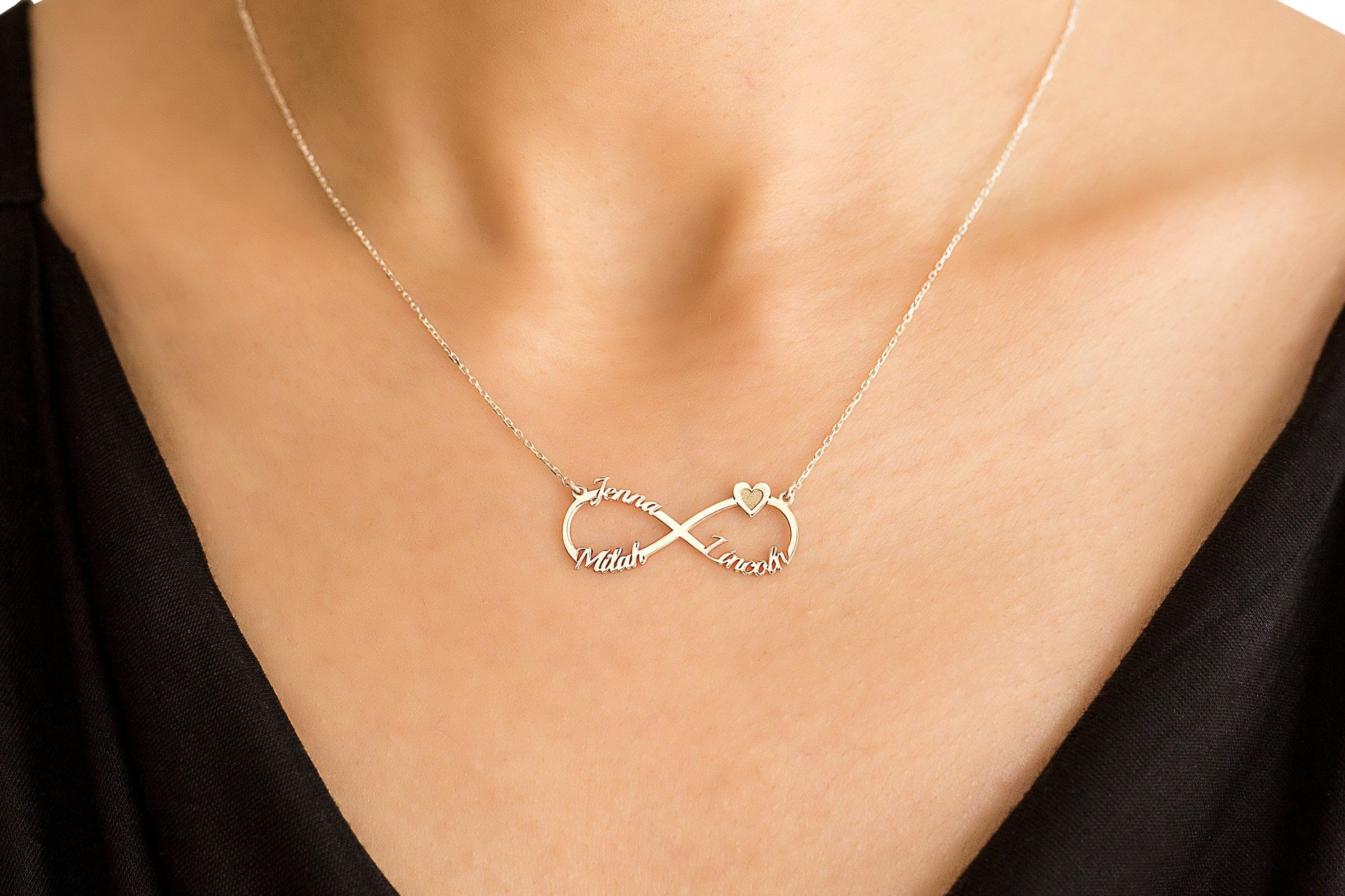 Handmade Infinity Name Necklace Three Names Necklace Love