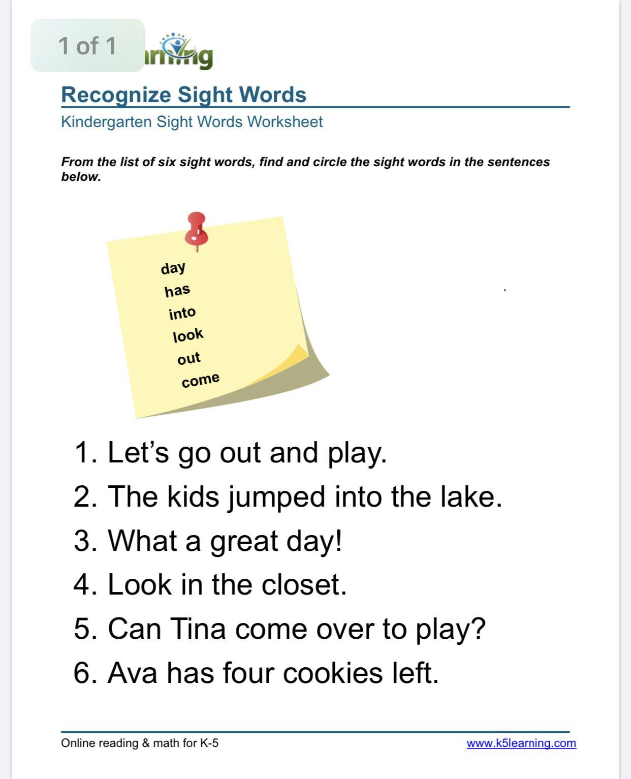 Sight Words in Sentances Worksheet   K5 Learning   Kindergarten worksheets  sight words [ 1533 x 1242 Pixel ]