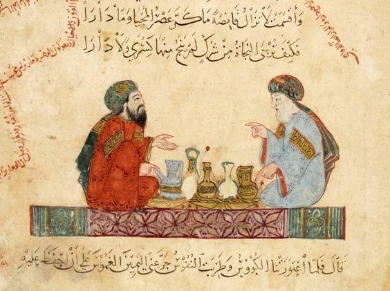 """""""Abû Zayd e al-Hârith"""", illustrazione tratta dalle 'Maqamat' di al-Hariri (1237), Bibliothèque nationale de France, Parigi. Tweet Articoli correlatiTUTTI A TAVOLA (ROTONDA)PRENDERÒ LA MELAIMPREVISTO A PRANZOTROPPO COTTO?UN DRINK PRIMA DI MANGIAREIL COSCIOTTO È PER L'ALTRO TAVOLO Commenti commenti"""