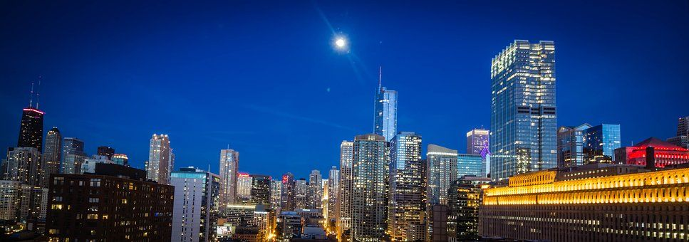 Chicago, City, Cityscape, Moonlight New years eve
