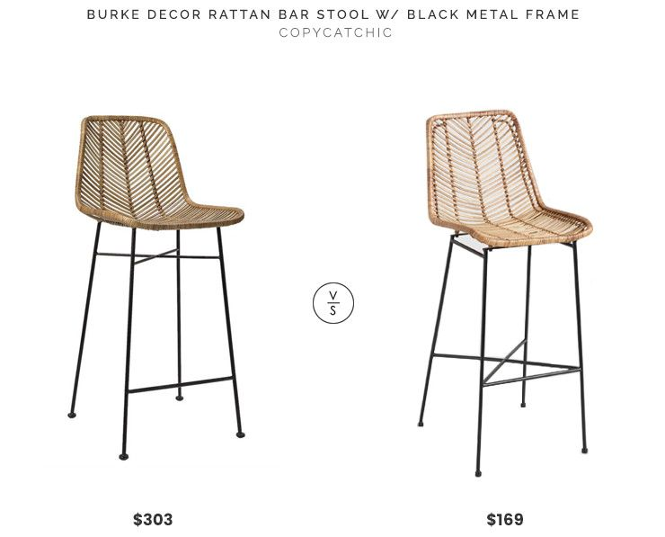 Burke Decor Rattan Bar Stool With Black Metal Frame 303 Vs World