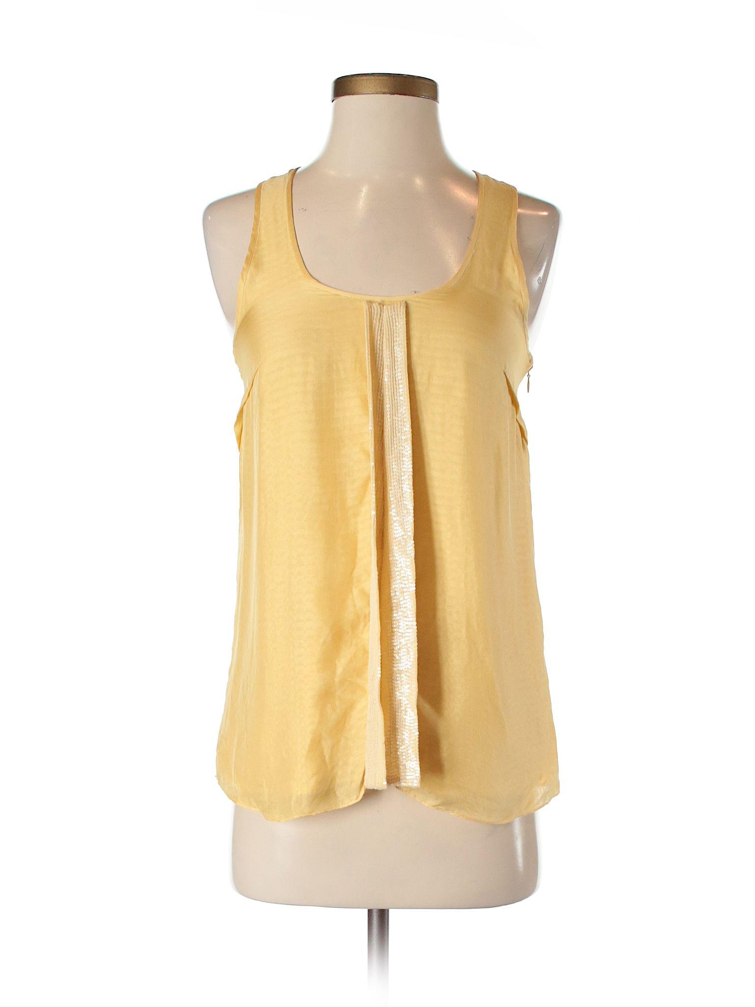 f2279fa53e2f83 Julie Haus Sleeveless Silk Top  Yellow Women s Tops - 25634977