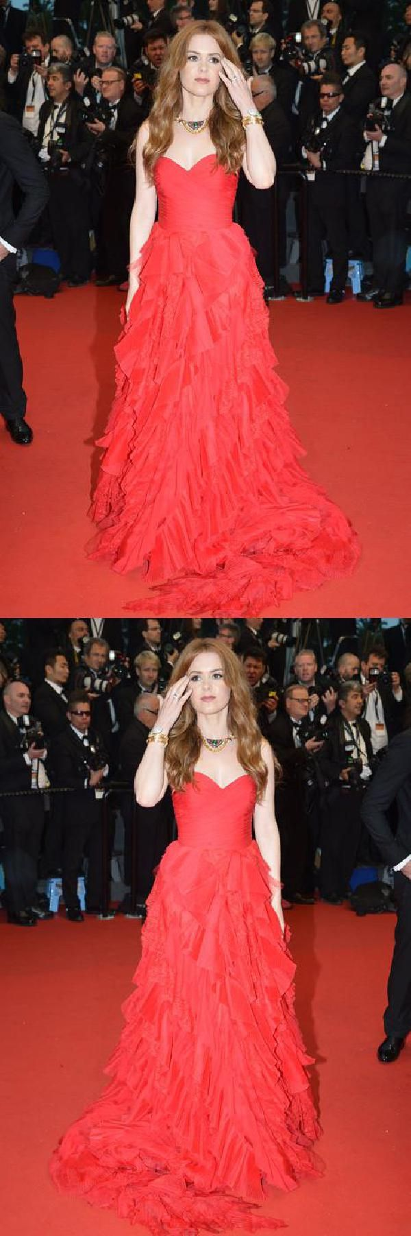 Isla fisher red discount prom dress cannes film festival
