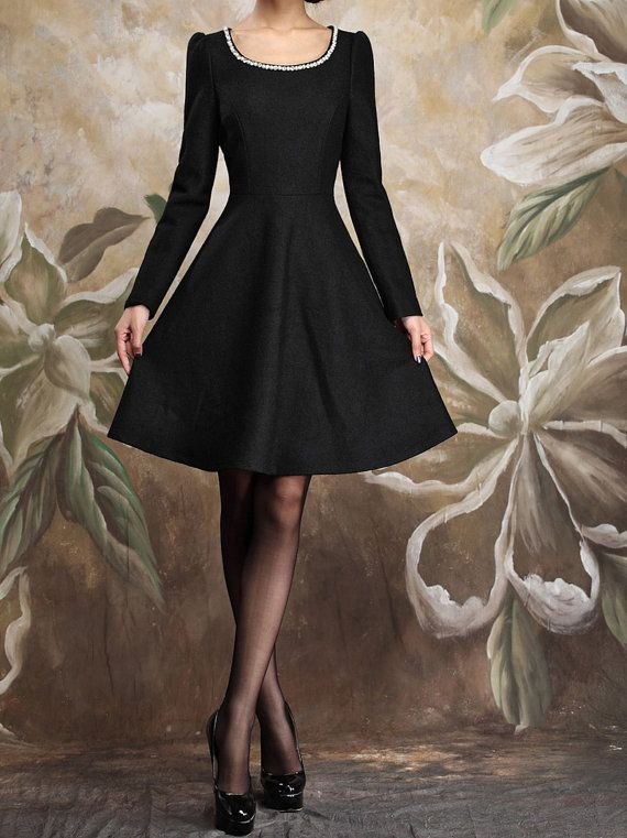 Women's autumn winter Girls Wollen Dress Ladies by beatbbcustom, $59.98