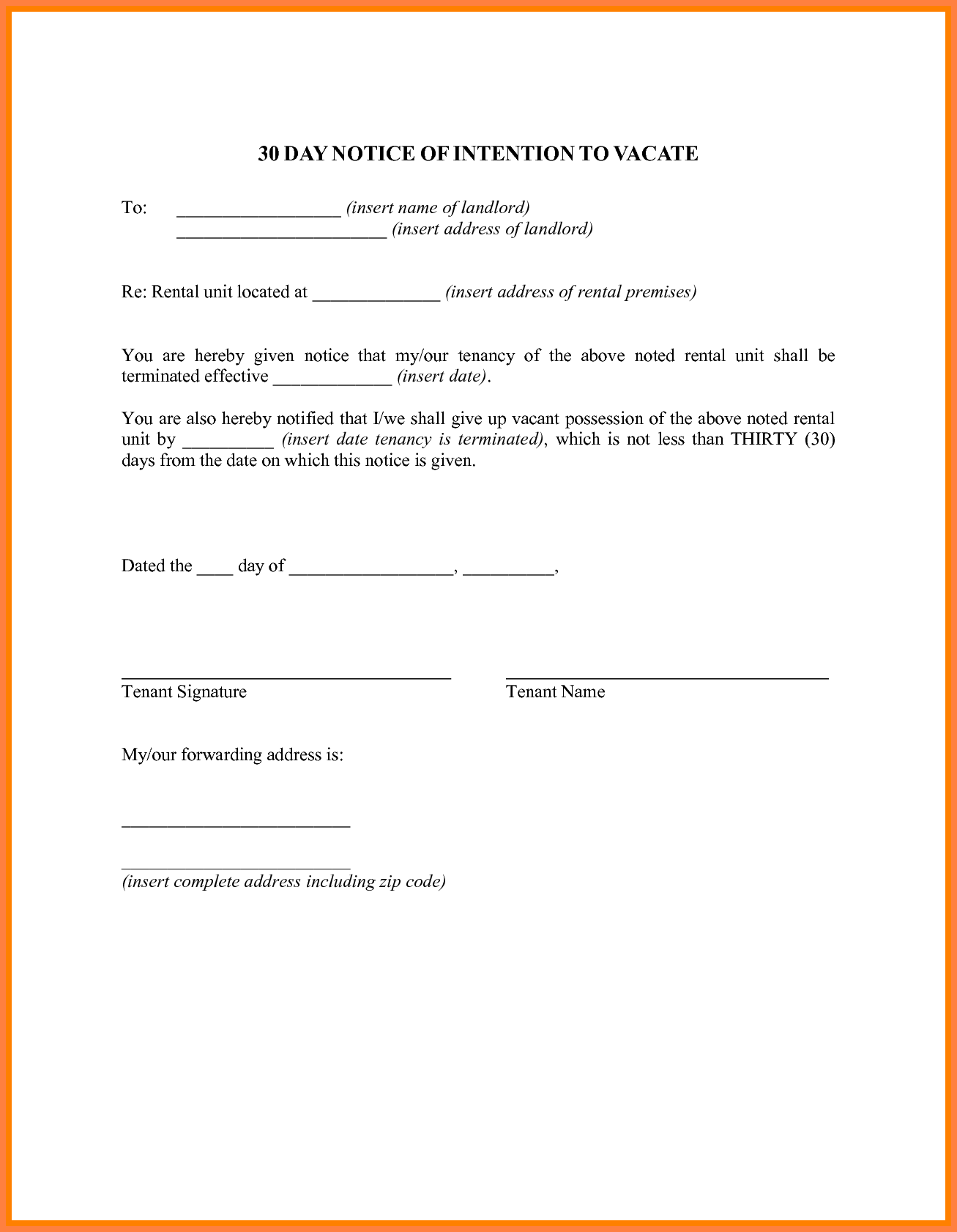 5 30 Day Notice To Landlord Sample Letter Notice Letter Forms