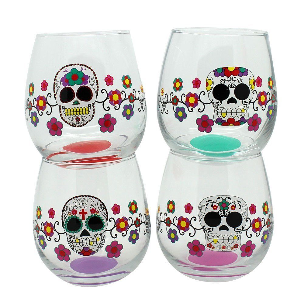 Day of the dead glass stemless wine glasses set of 4 sugar skulls day of the dead glass stemless wine glasses set of 4 sugar skulls my sugar dailygadgetfo Choice Image
