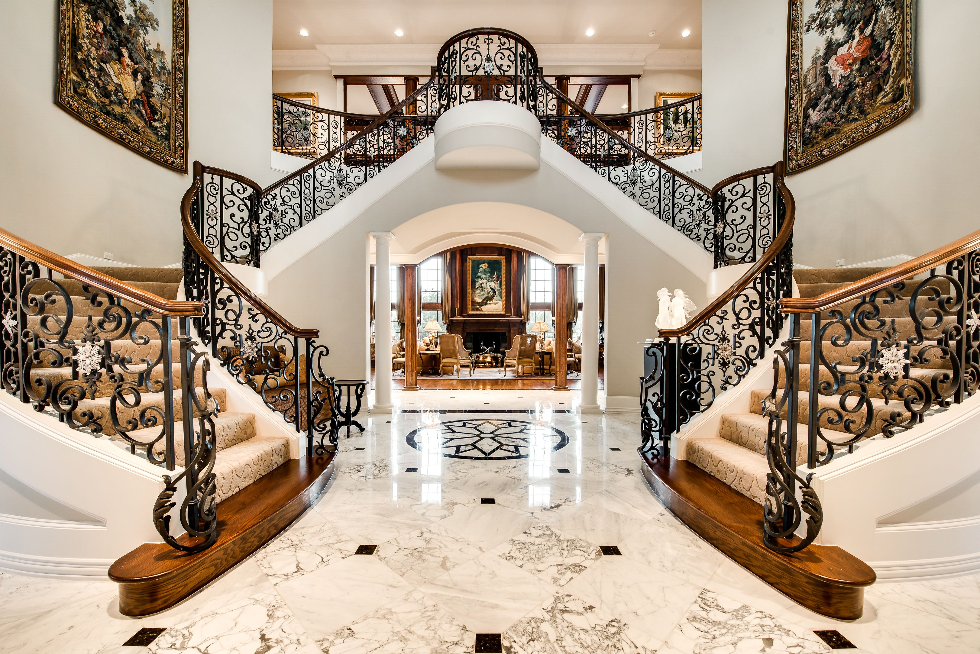 Wrought iron double staircase in 1600 Nelson Drive ...