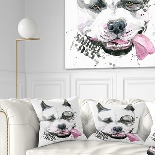 Designart 'Funny Dog with Single Lens' Contemporary Animal Throw Pillow (Square - 16 in. x 16 in. - Small), White, DESIGN ART(Polyester)