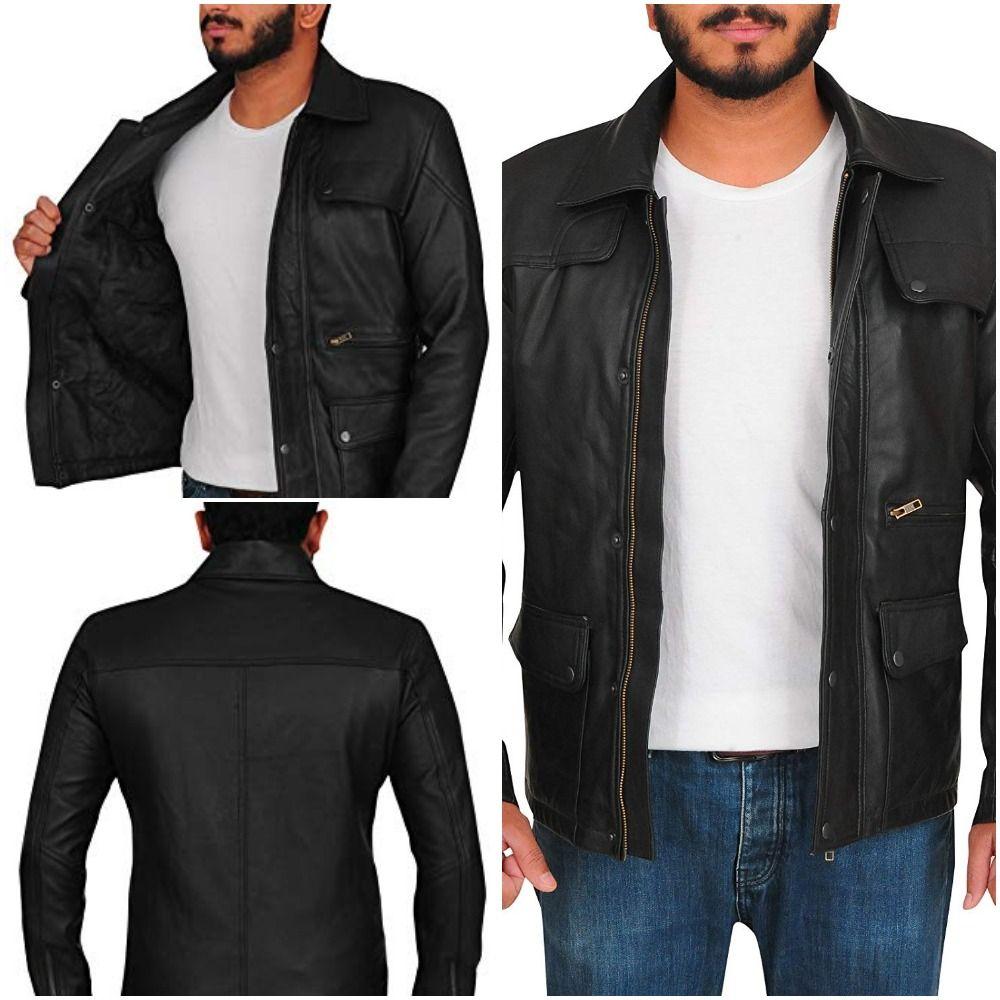 Mens Fashion Real Lambskin Leather Black Arnold Schwarzenegger Biker Shoulder Padded Design Jacket
