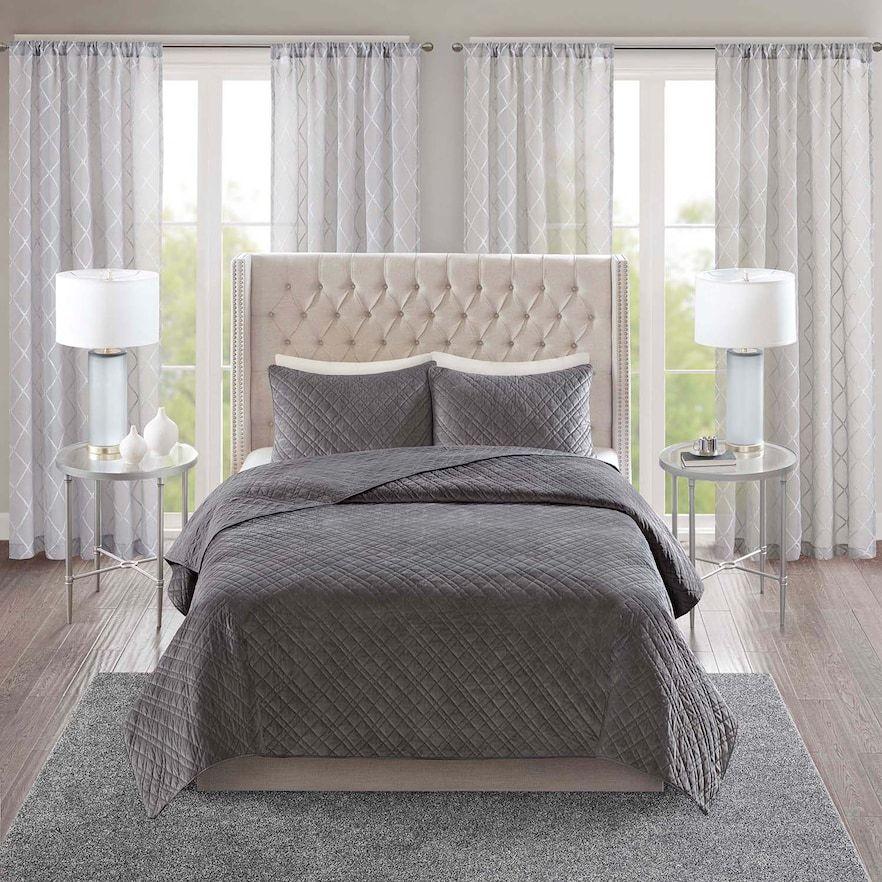 Madison Park Vivienne 3 Piece Velvet Quilt Set Grey Quilt Sets