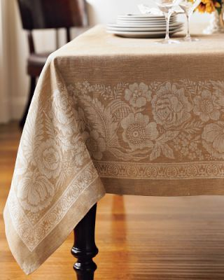 Vintage Look Jacquard Thanksgiving Tablecloth From William Sonoma - Thanksgiving-table-cloth