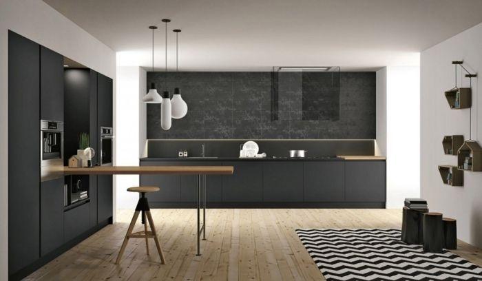 ▷ 1001 + exemples sublimes de la cuisine noire et bois - modele de cuisine americaine