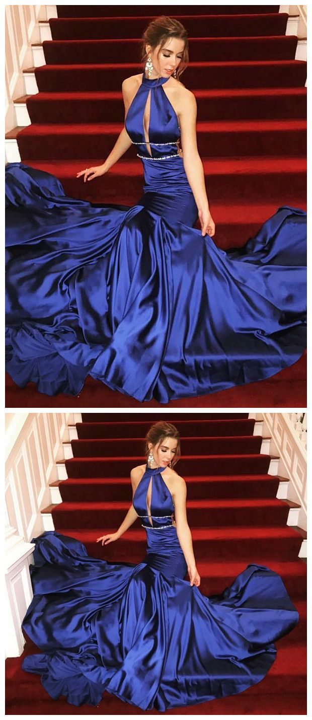 Trumpetmermaid haltr prom dress royal blue prom dresses long